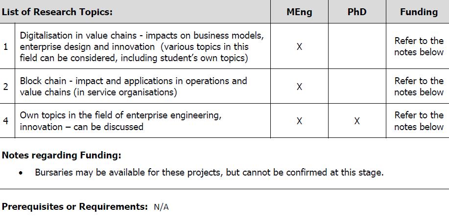 Enterprise Engineering - Industrial Engineering